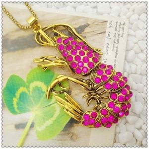 Jewelry - New Pink Shrimp Ocean Pendant Necklace Long Chain